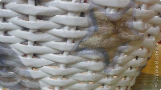 Вот такая плетёночка получилась....сплела, покрыла разбавленным пва, далее покрыла белой акриловой эмалью,затем декупаж, и акриловым лаком на водной основе.(Декупаж делала впервые.) фото 4