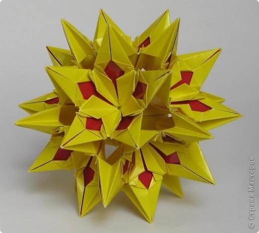Всем привет!  Equilateral triangle unit by David Petty Вот схема: часть1: http://www.davidpetty.me.uk/origamiemporium/bucky1.htm часть2: http://www.davidpetty.me.uk/origamiemporium/bucky2.htm фото 4