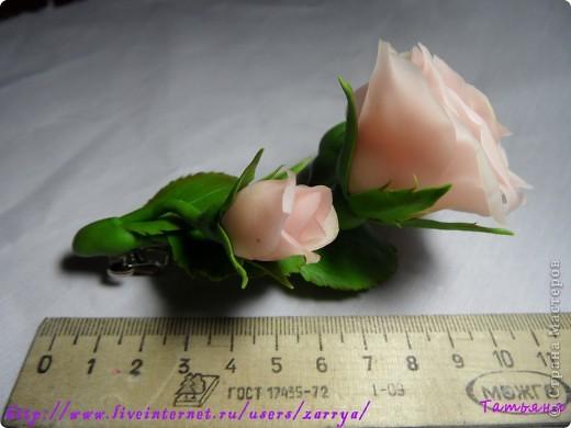 Первая проба. Заколка - розы. фото 3