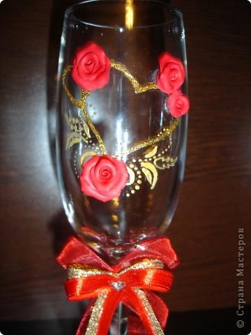 Вот в таком красном цвете получились бокалы для сестренки. Доделаю весь набор и выложу позже фото 2