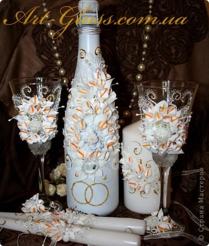 """Набор """"Свадебный"""" :  бокалы, свечи.  фото 1"""