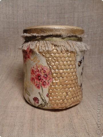 """Баночка с медом -подарочек для хорошего знакомого. Опять же """"слепила из того ,что было""""))) Идею сот позаимствовала  вот здесь  http://dcpg.ru/mclasses/631/  фото 2"""