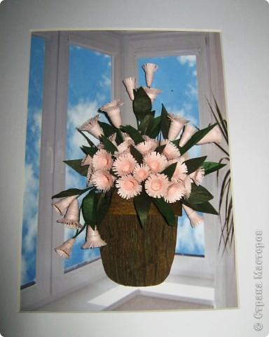 """Давно мечтала сделать цветочки по работе Насти Дватаи """"Белые цветы в горшочке"""" http://stranamasterov.ru/node/84304 . Вот то, что у меня в конечном итоге вышло.  фото 1"""