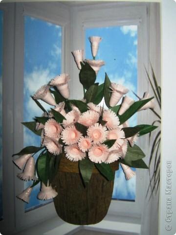 """Давно мечтала сделать цветочки по работе Насти Дватаи """"Белые цветы в горшочке"""" http://stranamasterov.ru/node/84304 . Вот то, что у меня в конечном итоге вышло.  фото 4"""