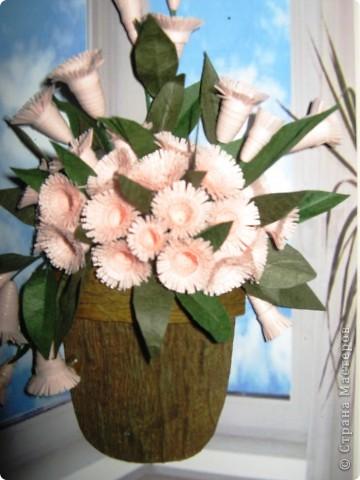 """Давно мечтала сделать цветочки по работе Насти Дватаи """"Белые цветы в горшочке"""" http://stranamasterov.ru/node/84304 . Вот то, что у меня в конечном итоге вышло.  фото 2"""