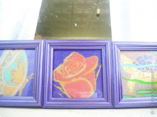 Делали картинки с дочерью Дианой, я работала со стеклом а она красила рамочки. По моему неплохо получилось. Роза - рисунок с обоев. фото 4