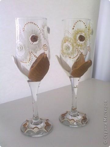 Свадебные бокалы. Первый блин. фото 1