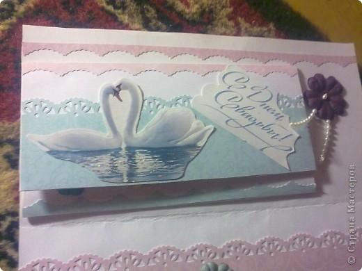 В общем мама попросила сделать открытку на свадьбу, но потом предложила, что бы я ей отдала ту которую хотела подарить я сестре и теперь её будут дарить ей мои родители, но в добавок она попросила сделать к ней конвертик под денежку.  Вот, что вышло: фото 2