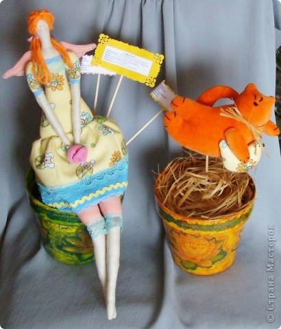Цветочный ангел, котик и цветочные горшки (декупаж)