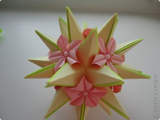 Колючка как-то придумалась сама, но что есть автор у этой колючки я не сомневаюсь, потому что модуль  уж очень простой.+ зелененькие вставочки, а цветочки это вариация Пуансетии Татьяны Высочиной. Делала их по фото. фото 1