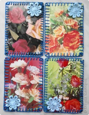 Сделала мини-серию из 4 карточек. Больше для того, чтобы показать карточки, которые получила в июле-августе.  Вспомнила, как раньше мы шили шкатулки из открыток. Украсила только маленьким цветочком, чтобы не портить вид открытки. фото 1
