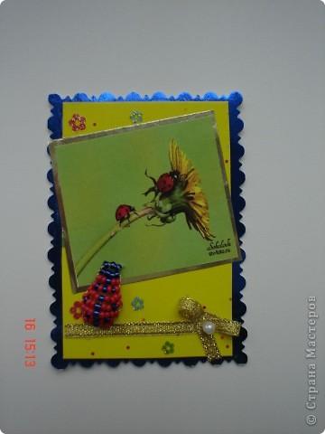 Продолжение серии. Использованы фото Т. Соколовой. Украшены бисерными лягушатами и божьими коровками. фото 2