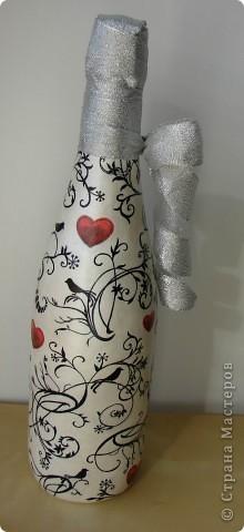 Очень мне понравилась одна салфетка, что сразу захотелось что-нибудь с ней сотворить даже без повода, в результате появилась вот такая бутылочка  фото 3