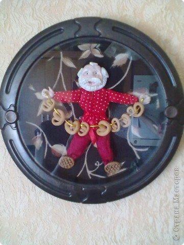 Картинка-оберег моим дорогим кумовьям в подарок (старые часы, соленое тесто, чеснок по МК OLGA15 http://stranamasterov.ru/node/67462 , колоски, шитье) фото 2