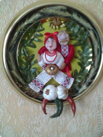 Картинка-оберег моим дорогим кумовьям в подарок (старые часы, соленое тесто, чеснок по МК OLGA15 http://stranamasterov.ru/node/67462 , колоски, шитье) фото 1