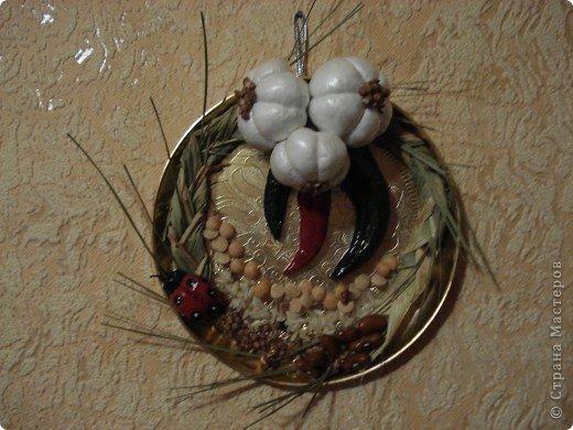 Картинка-оберег моим дорогим кумовьям в подарок (старые часы, соленое тесто, чеснок по МК OLGA15 http://stranamasterov.ru/node/67462 , колоски, шитье) фото 6