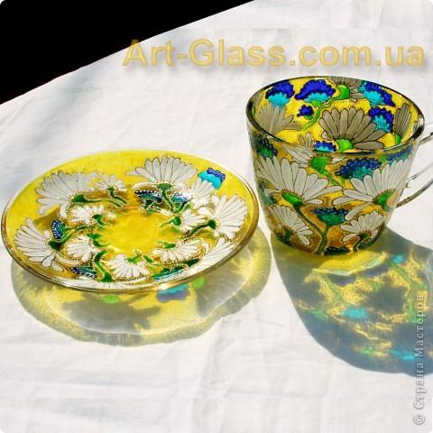 Чашка ромашковая. Роспись по стеклу. фото 4