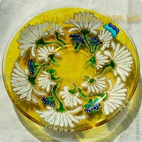 Чашка ромашковая. Роспись по стеклу. фото 2
