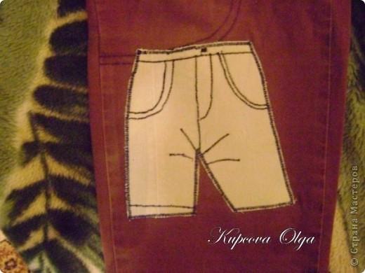 Знакомая принесла трое штанишек с ооочень дырявыми коленками.Вот что у меня получилось,штанишки правда превратились в бриджики ,но для садика самое то,всё равно они были уже даже больше чем впритык фото 8