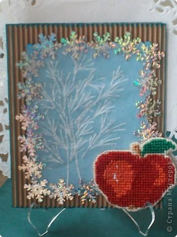 """Вот такая получилась открытка. На гофрированном картоне окно из синего картона закрыто калькой с деревом (почти пергамано), пайетки """"снежинки""""-дырокола не нашла подходящего, яблоко вышито крестиком."""