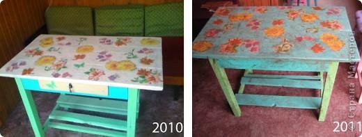 Ссылаюсь на свою переделку древнего стола 50-ых в 2010 году: http://stranamasterov.ru/node/154087. Кажется на фотографии в 2010 году стол выглядел лучше ) Но меня раздражало, что цвет столешницы не подходит к цвету ножек и подстолья. Слишком много намешала цветов не очень сочетающихся друг с другом: бежевый, травяной зеленый и салатовый. Наверное поэтому он и испортился под дождем. фото 1