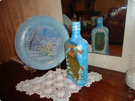 Тарелка-обратный декупаж,бутылка-Прямой и обратный декупаж фото 1