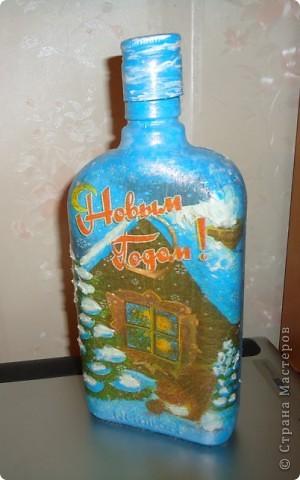 Тарелка-обратный декупаж,бутылка-Прямой и обратный декупаж фото 3