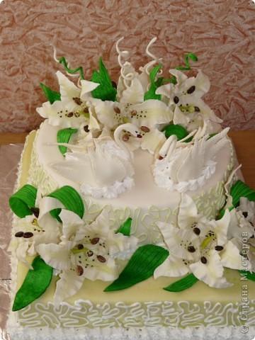 Мой первый свадебный тортик делала в феврале племяшке на никах. Хотелось сделать сразу все. Поэтому все в куче. фото 3