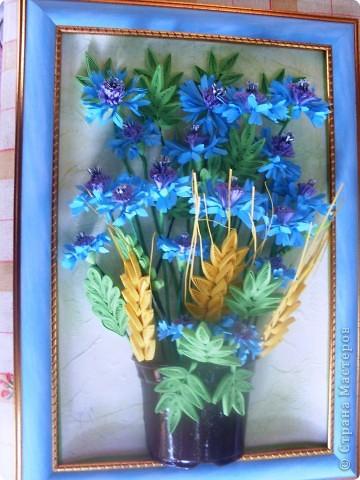 Сегодня я к вам с васильками от Натальи! Делала эту работу во время отдыха на море, в подарок близкому человеку.    фото 2