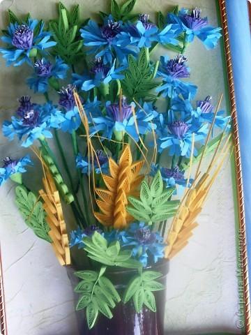 Сегодня я к вам с васильками от Натальи! Делала эту работу во время отдыха на море, в подарок близкому человеку.    фото 3