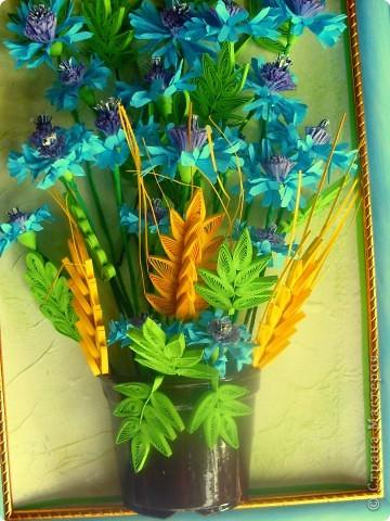 Сегодня я к вам с васильками от Натальи! Делала эту работу во время отдыха на море, в подарок близкому человеку.    фото 4