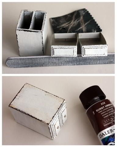 Все, кто знаком с моим творчеством, знают, что больше всего я люблю шебби :) И конечно же мой МК тоже получился в этом стиле! Я хочу показать Вам как сделать такой комодик из спичечных коробков.  Для работы вам понадобится: - пустые спичечные коробки 2 шт - толстый картон (переплетный), лучше разной толщины 1 и 2 мм - темно-коричневая и белая акриловые краски - свечка - наждачка или пилка для ногтей - любые украшения на ваш вкус фото 5