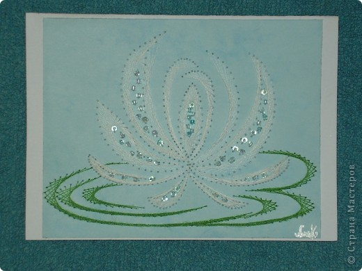водяные лилии - tikitud kaardid... niidigraafika фото 1