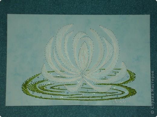 водяные лилии - tikitud kaardid... niidigraafika фото 2
