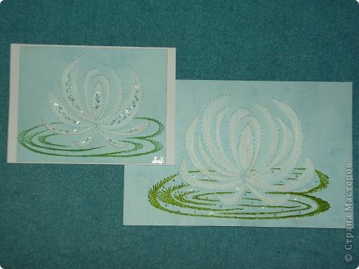 водяные лилии - tikitud kaardid... niidigraafika фото 4