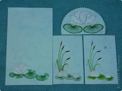 водяные лилии - tikitud kaardid... niidigraafika фото 6