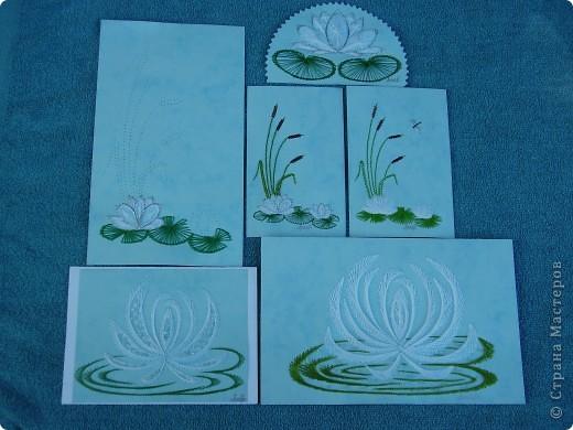 водяные лилии - tikitud kaardid... niidigraafika фото 7