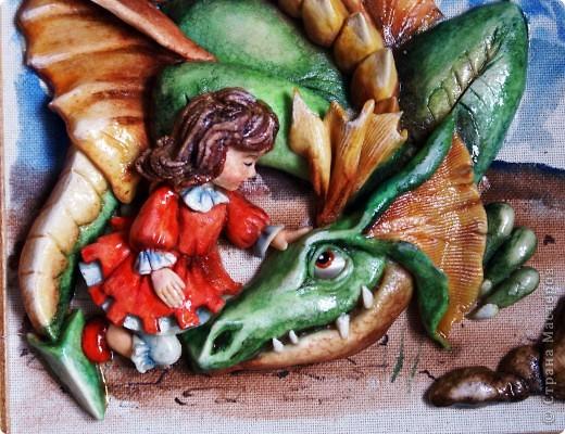 Всем жителям страны - доброго времени суток! Я закончила серию картин с драконами, вот решила показать. Все сюжеты искала в интернете и подгоняла под свой вариант))).  фото 3