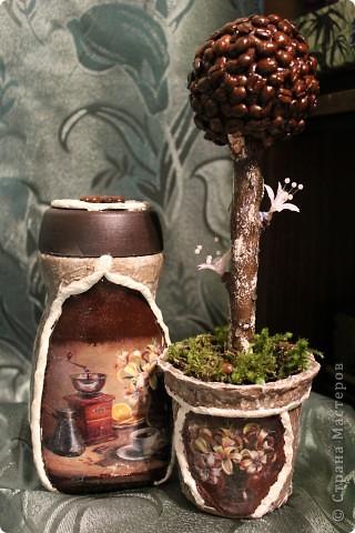 Захотелось уже сделать что-то своими руками в подарок, а так как давно заглядывала на кофейные деревья, долга не думала и вот результат целенаправленной работы и хорошего настроения. фото 1