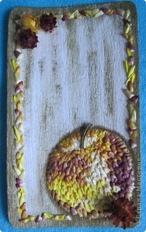 яблоко и рамочка тоже сделаны из лепестков гелихризума, посажены на универсальный момент, фон - тонированная гофрированная бумага на картоне фото 1