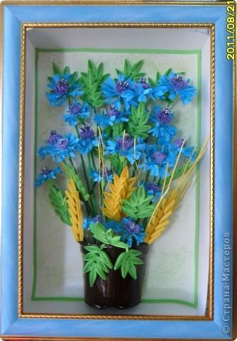 Сегодня я к вам с васильками от Натальи! Делала эту работу во время отдыха на море, в подарок близкому человеку.    фото 1