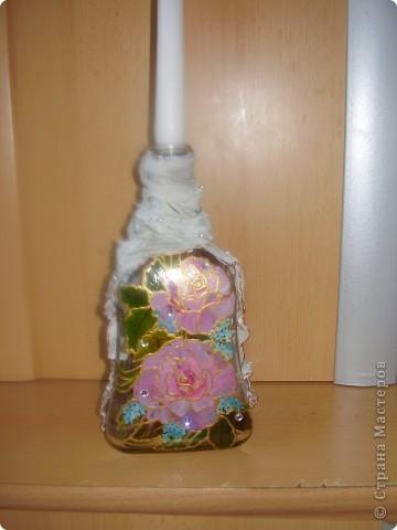 подсвечник из бутылки фото 2