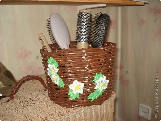 подруге понравилась моя корзинка для зонтиков и вот делала на заказ ей корзинку для расчесок. фото 1