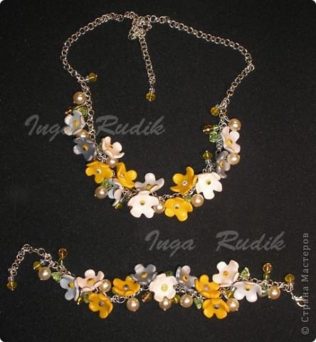 Ожерелье и браслет - пластика Фимо, бусины.
