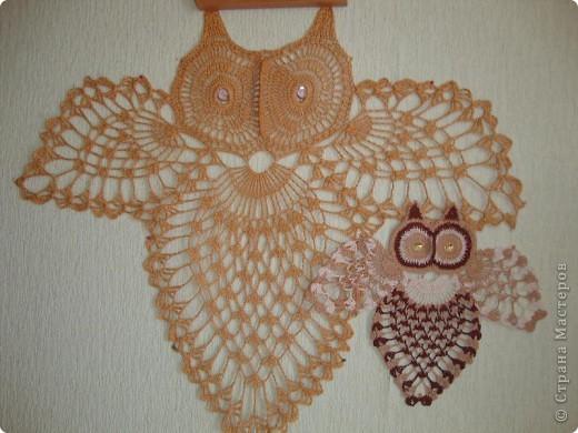 У папы совы появился сынок - совенок. Он связан по той же схеме, но нитки тоньше и использованы несколько оттенков.  фото 1