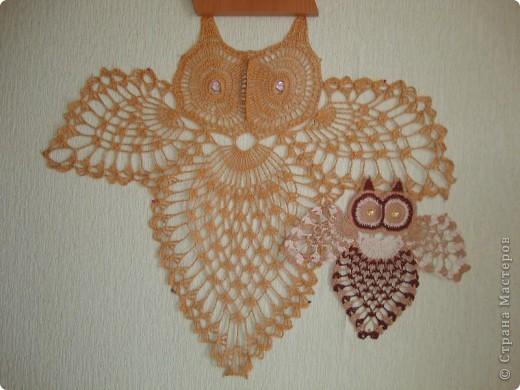 У папы совы появился сынок - совенок. Он связан по той же схеме, но нитки тоньше и использованы несколько оттенков.  фото 5