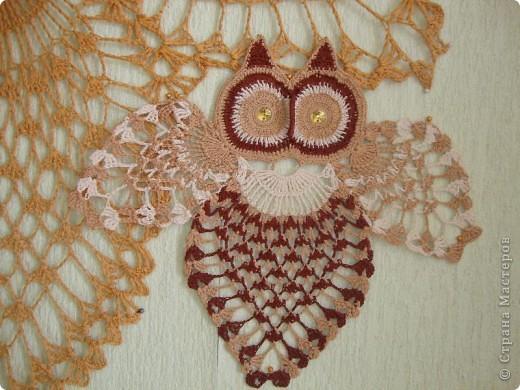 У папы совы появился сынок - совенок. Он связан по той же схеме, но нитки тоньше и использованы несколько оттенков.  фото 4