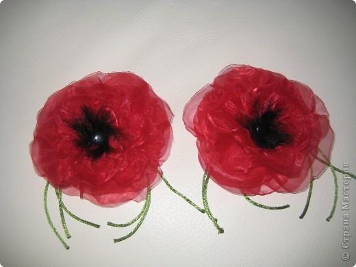 Цветок из ткани(мак-брошь)