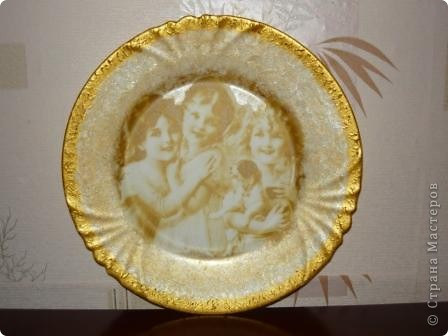 "Очень понравилась салфеточка с птицами. Рисунок обвела контуром. По краям краска ""Металлик"":золото и бронза. фото 5"