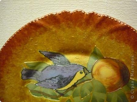 "Очень понравилась салфеточка с птицами. Рисунок обвела контуром. По краям краска ""Металлик"":золото и бронза. фото 2"